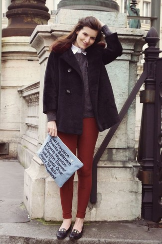 How to wear: burgundy leggings, white dress shirt, charcoal crew-neck sweater, black fur coat