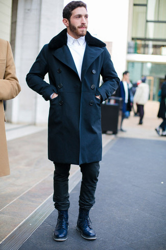 How to wear: black jeans, white dress shirt, white crew-neck sweater, navy fur collar coat