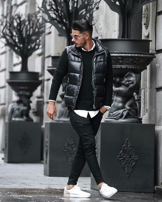 How to wear: black chinos, white dress shirt, black crew-neck sweater, black quilted gilet