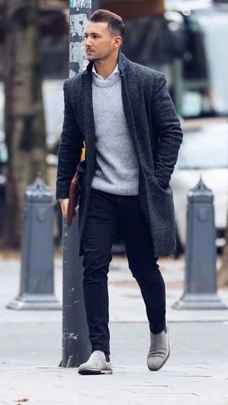 How to wear: black chinos, white dress shirt, grey crew-neck sweater, black overcoat