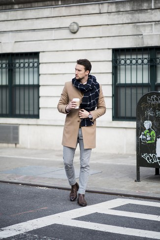 How to wear: grey check dress pants, white dress shirt, brown crew-neck sweater, camel overcoat
