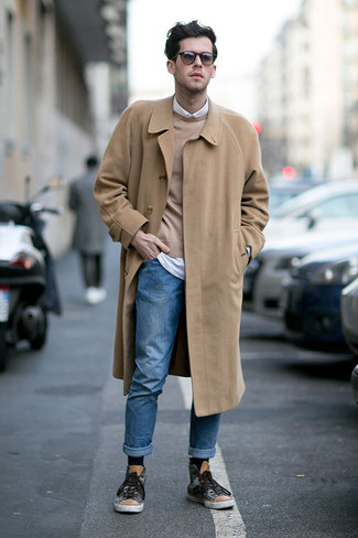 How to Wear Brown Sunglasses For Men: This relaxed combination of a camel overcoat and brown sunglasses is perfect when you need to look nice but have no extra time to dress up. Charcoal print high top sneakers tie the ensemble together.