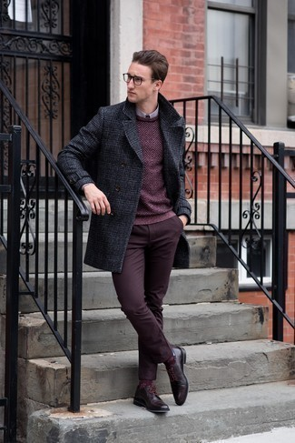 Men's Looks & Outfits: What To Wear In Chill Weather: When it comes to manly refinement, this combination of a charcoal plaid overcoat and burgundy chinos never disappoints. Burgundy leather derby shoes will bring a hint of class to an otherwise mostly dressed-down look.