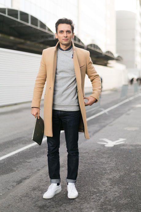 Men S Black Jeans Black Dress Shirt Grey Crew Neck Sweater Camel