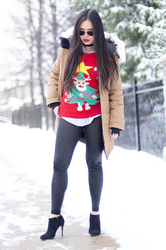 How to wear: black leather leggings, light blue vertical striped dress shirt, red christmas crew-neck sweater, beige parka