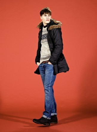 How to wear: blue jeans, black dress shirt, beige fair isle crew-neck sweater, black parka