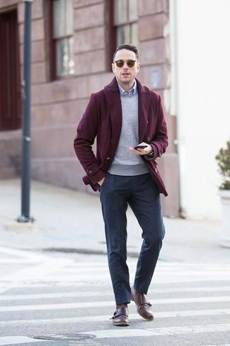 How to wear: black wool dress pants, light blue dress shirt, grey crew-neck sweater, burgundy pea coat