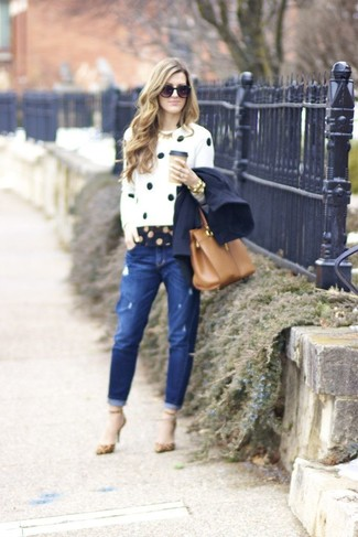 How to wear: blue ripped boyfriend jeans, navy polka dot dress shirt, white and black polka dot crew-neck sweater, navy pea coat