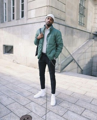 How to wear: black chinos, white dress shirt, white crew-neck sweater, green puffer jacket