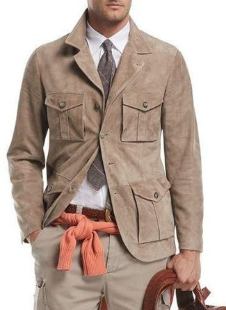 How to wear: beige cargo pants, white dress shirt, orange crew-neck sweater, tan suede shirt jacket