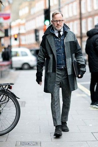How to wear: grey wool dress pants, white dress shirt, navy denim jacket, grey check overcoat