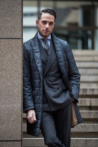How to wear: charcoal wool dress pants, light blue dress shirt, charcoal wool double breasted blazer, black quilted blazer