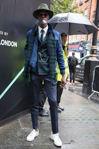 How to wear: black dress pants, white dress shirt, dark green plaid double breasted blazer, blue suede bomber jacket