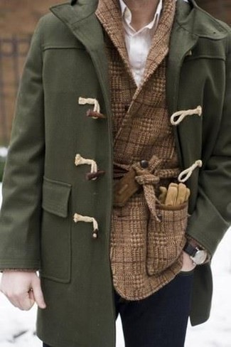 How to wear: navy skinny jeans, white dress shirt, brown check wool double breasted blazer, olive duffle coat