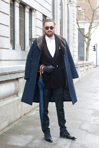 How to wear: black dress pants, white dress shirt, black velvet double breasted blazer, navy fur collar coat