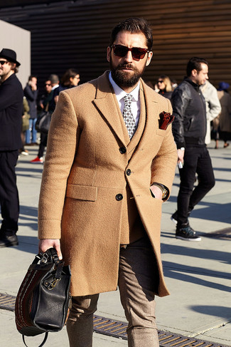 How to wear: brown wool dress pants, white dress shirt, tan wool double breasted blazer, camel overcoat