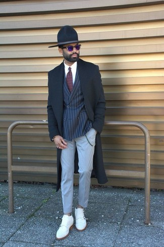 How to wear: grey dress pants, white dress shirt, navy vertical striped double breasted blazer, black overcoat