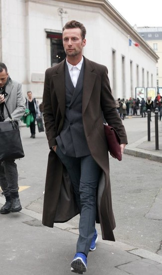 How to wear: charcoal dress pants, white dress shirt, dark brown double breasted blazer, dark brown overcoat