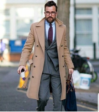 How to wear: grey dress pants, light blue dress shirt, grey double breasted blazer, beige overcoat