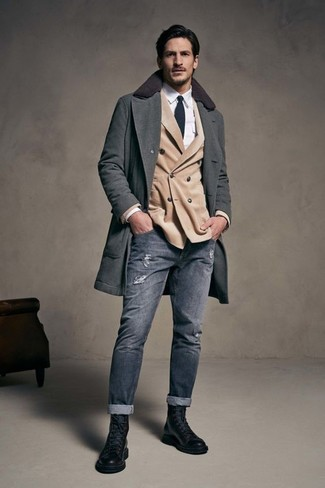 How to wear: grey ripped skinny jeans, white dress shirt, beige double breasted blazer, charcoal overcoat