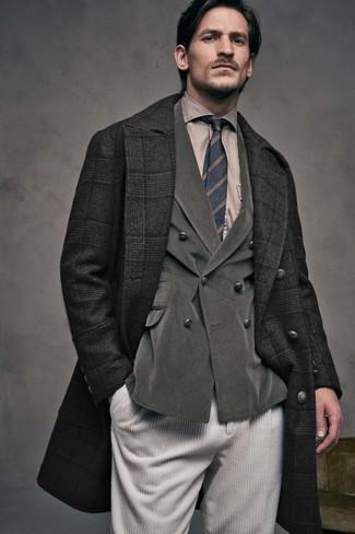 How to wear: beige corduroy jeans, tan dress shirt, olive corduroy double breasted blazer, black plaid overcoat