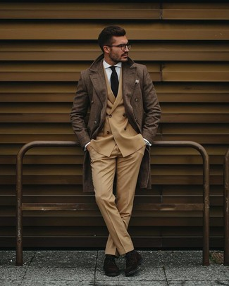 How to wear: khaki dress pants, white dress shirt, tan double breasted blazer, brown plaid overcoat