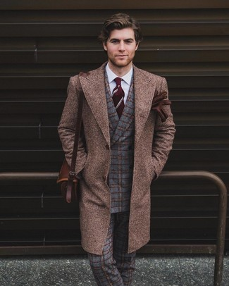 How to wear: grey plaid wool dress pants, white dress shirt, grey check wool double breasted blazer, brown overcoat
