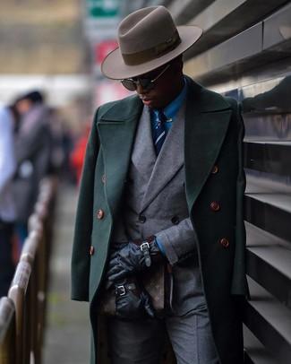 How to wear: grey dress pants, blue dress shirt, grey double breasted blazer, dark green overcoat