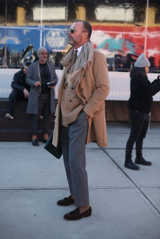 How to wear: grey wool dress pants, white dress shirt, tan double breasted blazer, camel overcoat