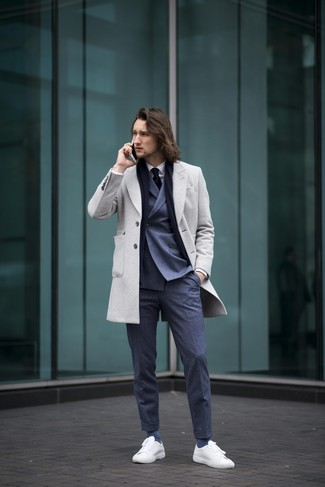 How to wear: navy dress pants, white dress shirt, navy double breasted blazer, grey overcoat