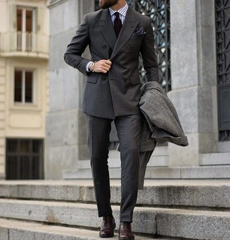 How to wear: charcoal dress pants, white vertical striped dress shirt, charcoal double breasted blazer, charcoal check overcoat