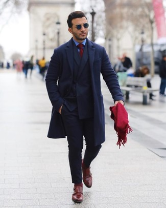 How to Wear Navy Sunglasses For Men: This combination of a navy overcoat and navy sunglasses is very easy to do and so comfortable to wear over the course of the day as well! A pair of burgundy leather double monks easily steps up the classy factor of any look.
