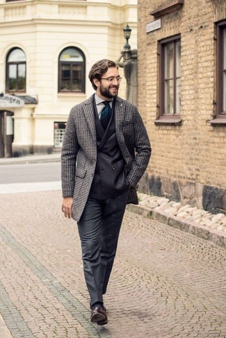 How to Wear Charcoal Wool Dress Pants For Men: You'll be amazed at how easy it is to put together this sophisticated getup. Just a grey houndstooth overcoat worn with charcoal wool dress pants. On the footwear front, this outfit pairs nicely with dark brown leather tassel loafers.