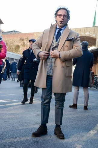 How to Wear Dark Brown Suede Oxford Shoes: A camel overcoat and navy dress pants are a refined ensemble that every sharp guy should have in his arsenal. When it comes to shoes, this look pairs well with dark brown suede oxford shoes.