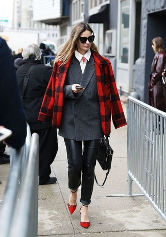 How to wear: black leather skinny jeans, white dress shirt, charcoal double breasted blazer, red plaid pea coat