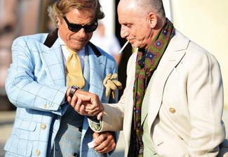 How to wear: tan tie, white dress shirt, blue plaid double breasted blazer, light blue plaid pea coat