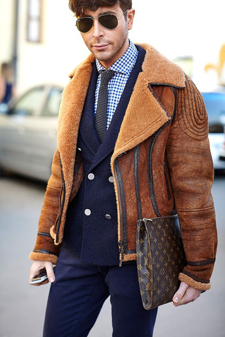 How to wear: navy dress pants, navy and white gingham dress shirt, navy wool double breasted blazer, tobacco shearling jacket