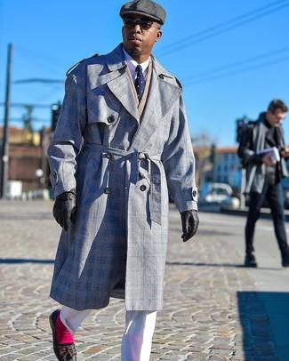 How to wear: white dress pants, white dress shirt, tan herringbone double breasted blazer, grey plaid trenchcoat