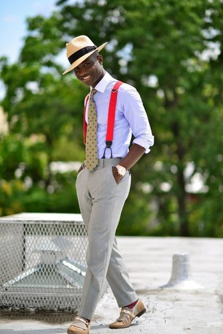 How to wear: light violet dress shirt, grey dress pants, tan leather loafers, tan straw hat