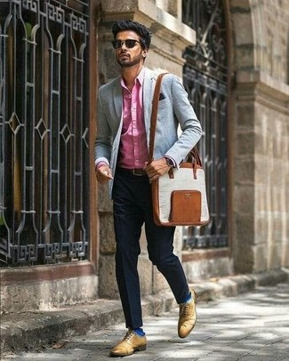 How to wear: hot pink dress shirt, black dress pants, tan leather oxford shoes, brown leather messenger bag