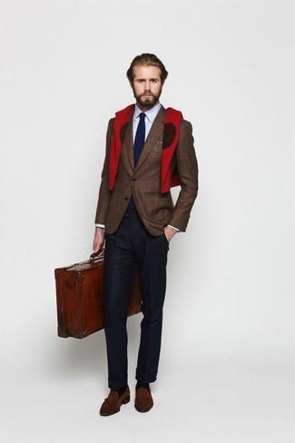 Brown Checked Wool And Silk Blend Blazer