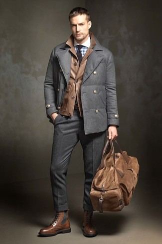 How to wear: charcoal wool dress pants, light blue check dress shirt, brown leather field jacket, charcoal pea coat