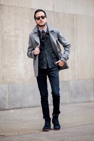 How to wear: navy jeans, blue gingham dress shirt, navy quilted gilet, grey pea coat