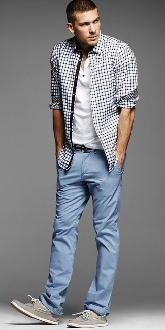 How to wear: white and navy gingham dress shirt, white henley shirt, light blue chinos, grey leather boat shoes