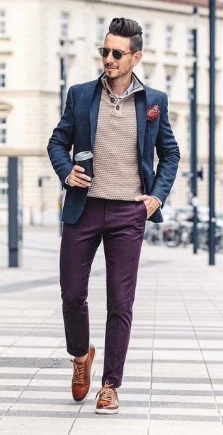 How to wear: dark purple chinos, white and blue vertical striped dress shirt, beige henley sweater, navy wool blazer