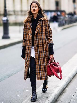 How to wear: black skinny pants, white dress shirt, black hoodie, camel plaid coat