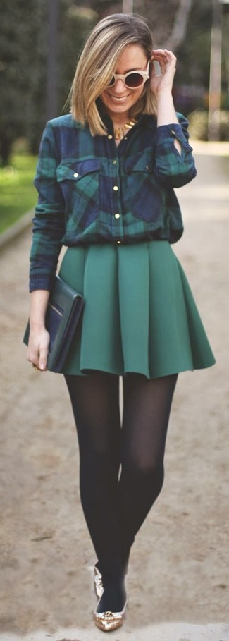 How to wear: navy and green plaid dress shirt, dark green pleated mini skirt, gold leather ballerina shoes, dark green leather clutch