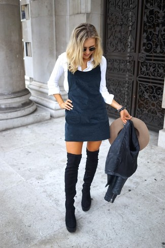 How to wear: black suede over the knee boots, white dress shirt, black overall dress, black leather biker jacket