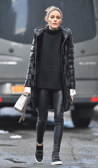 How to wear: black leather skinny pants, white dress shirt, black knit oversized sweater, black puffer coat