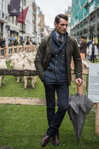 How to wear: black chinos, light blue dress shirt, charcoal shawl cardigan, olive field jacket
